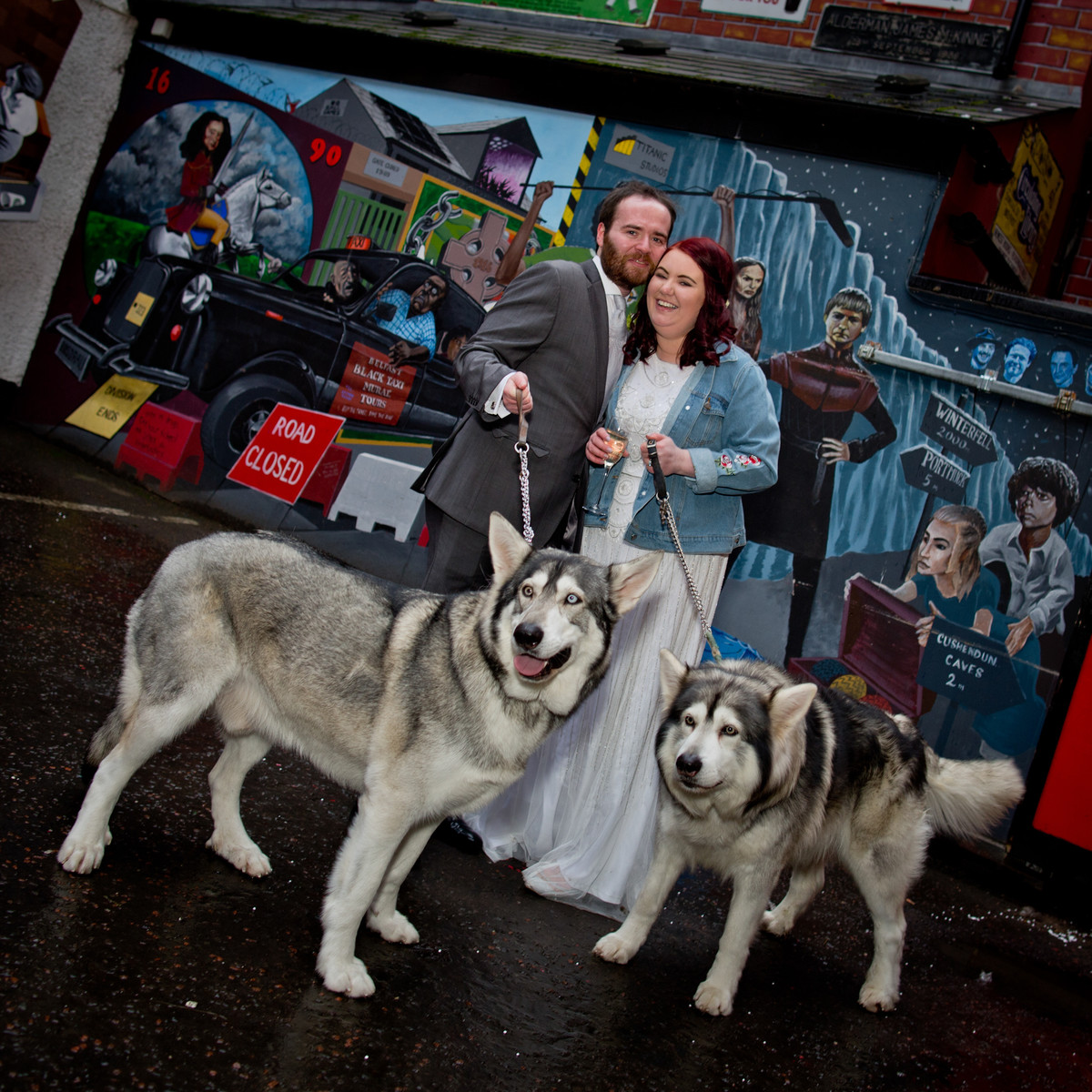 wedding photographer belfast city hall with the game of thrones direwolves